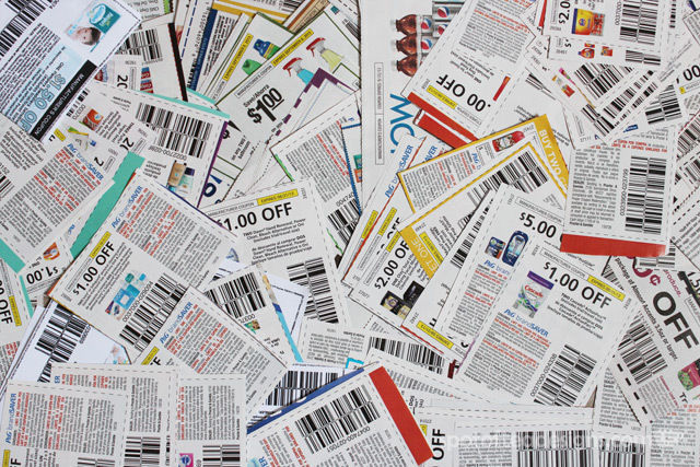 Pile of coupons featured on spotofteadesigns.com