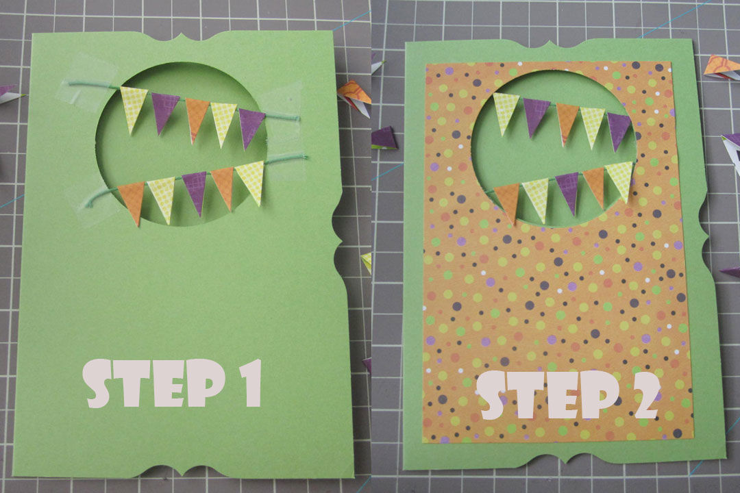 negative space used on a handmade card with a pennant garland hanging inside