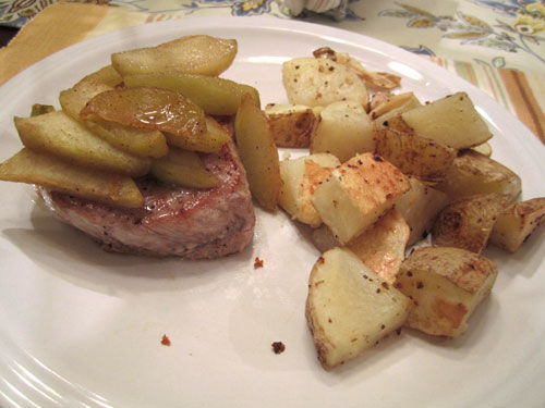 Caramel Apple Pork Chops dinner