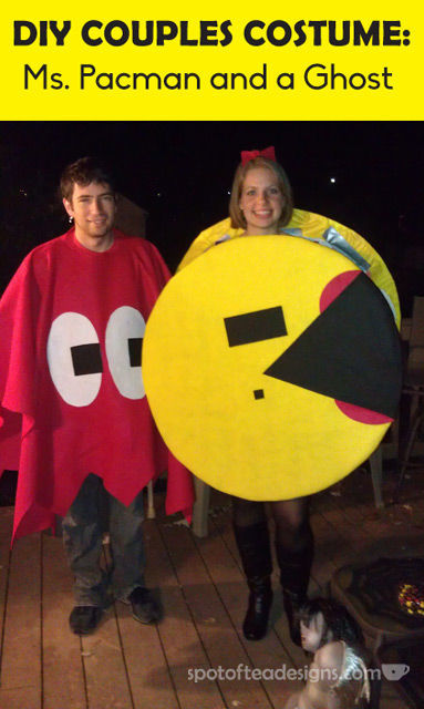 DIY Couples Halloween Costume: Ms Pacman and Ghost | spotofteadesigns.com
