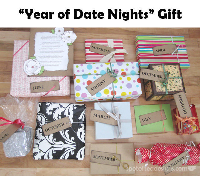 Year of Date Nights: 1 gift for each month of a couple's first year of marriage given by her bridesmaids at the shower | spotofteadesigns.com