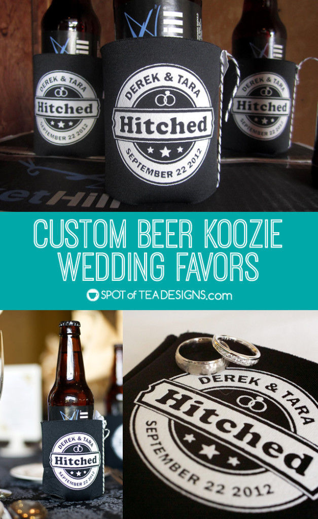 Custom Beer Koozie #Wedding #Favors - personalize for your big day. | spotofteadesigns.com