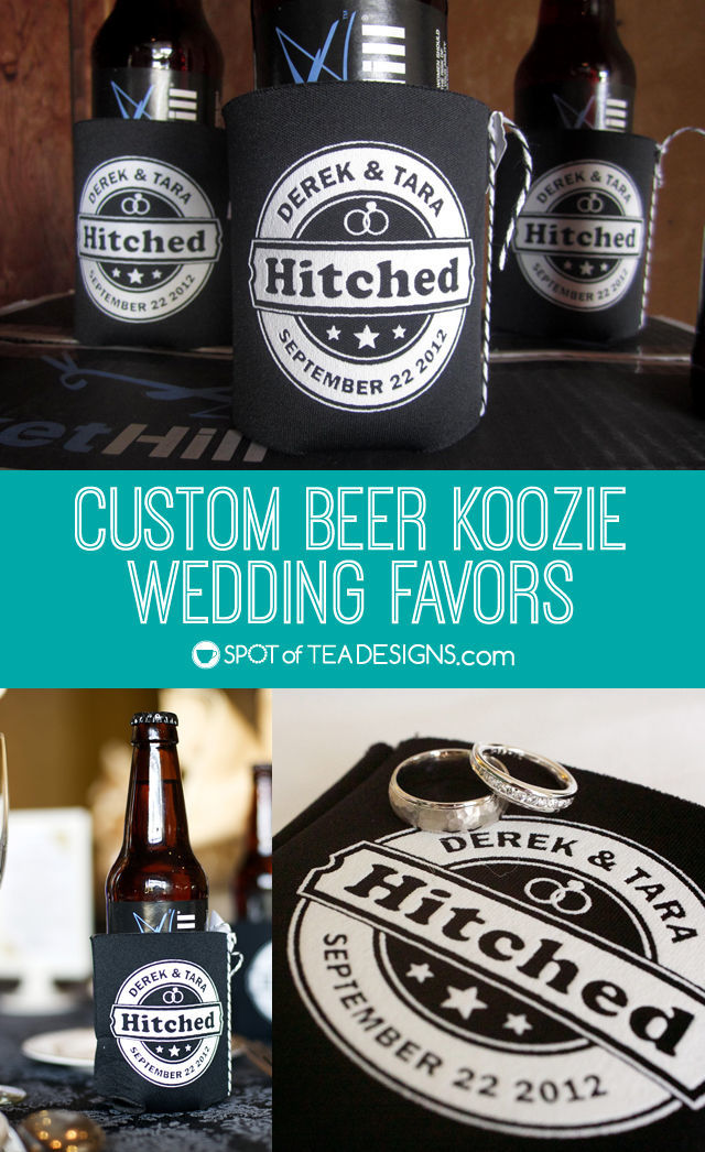 Custom beer koozie wedding favor for Beer koozie wedding favors