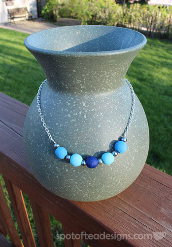 Wood Blue Necklace DIY | spotofteadesigns.com