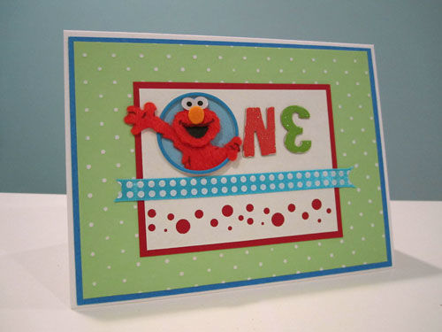 First Birthday handmade Elmo Card