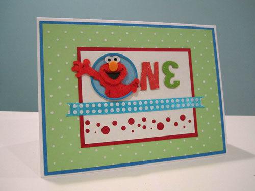 First Birthday handmade Elmo Card
