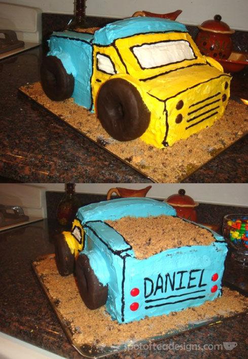 Dump Truck Birthday Cake spotofteadesigns.com