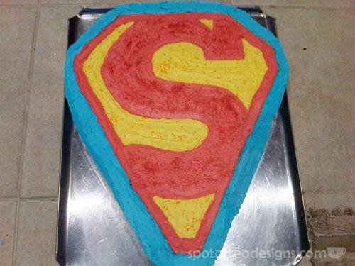 Superman Birthday Cakeb spotofteadesigns.com