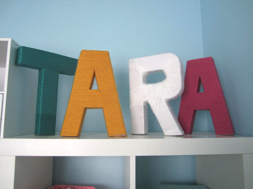 Tara yarn wrapped letters