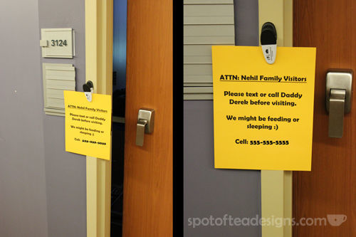 Maternity Ward Family Visitors Sign - let's your prepare for unannounced visitors | spotofteadesigns.com