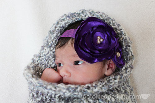 DIY baby headband for newborn photo shoot - fist pose in handmade knit cocoon | spotofteadesigns.com