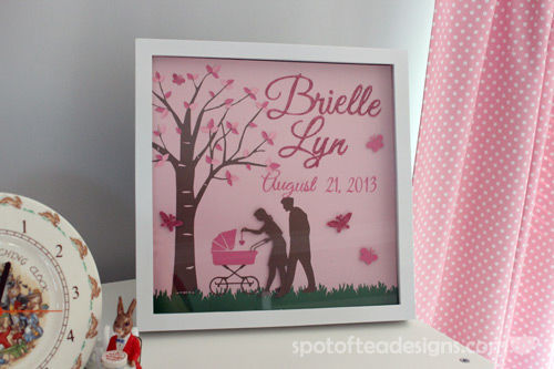 Custom Baby Frame made with Silhouette die cut machine | spotofteadesigns.com