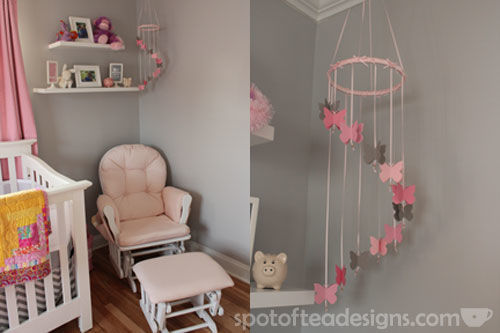 Pink, Gray and White Modern Baby Girl Nursery: Rocker and DIY Mobile | spotofteadesigns.com