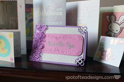 Handmade Baby Welcome Card Using Embossing | spotofteadesigns.com