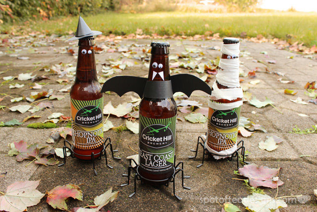 Hoppy Halloween: Beer bottles decorated for Halloween | spotofteadesigns.com