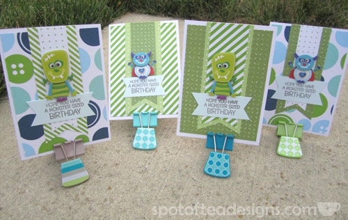 Monster Birthcard Cards using Mixed and matched patterned papers | spotofteadesigns.com
