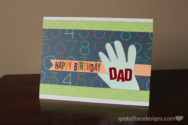 Handmade Birthday Card featuring baby's handprint | spotofteadesigns.com