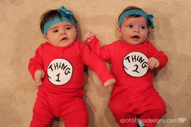 Halloween Baby Couples Costume Thing 1 and Thing 2 | spotofteadesigns.com