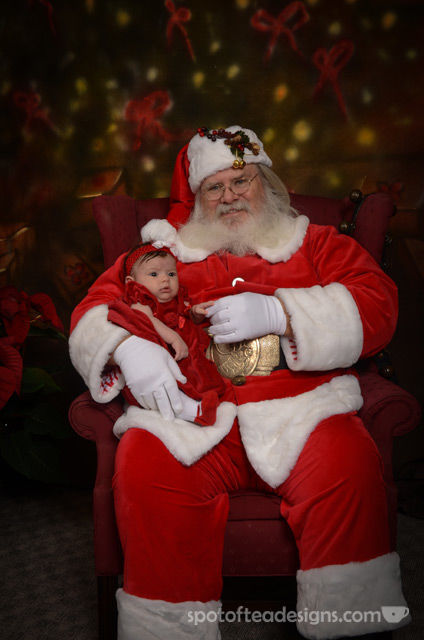 Brielle Photo With Santa wearing DIY headband | spotofteadesigns.com