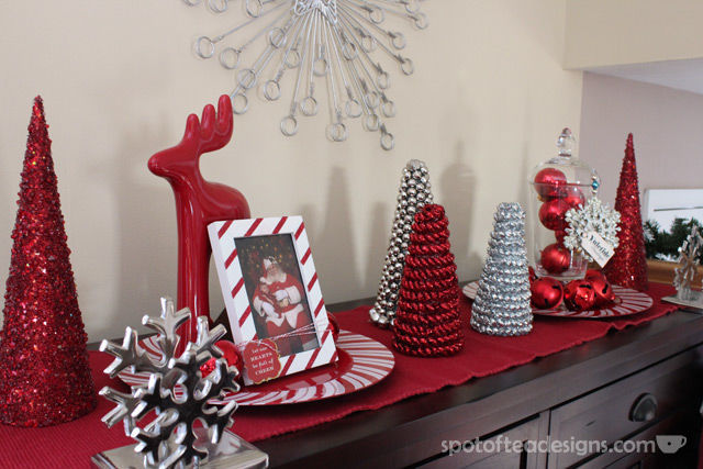 Red and Silver Holiday Decoration Display | spotofteadesigns.com