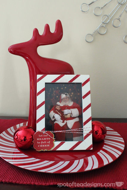 Boring white frame turned holiday candy cane stripe design | spotofteadesigns.com