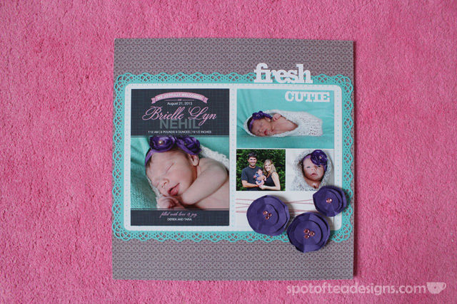 Baby Scrapbook Birth Announcement | spotofteadesigns.com