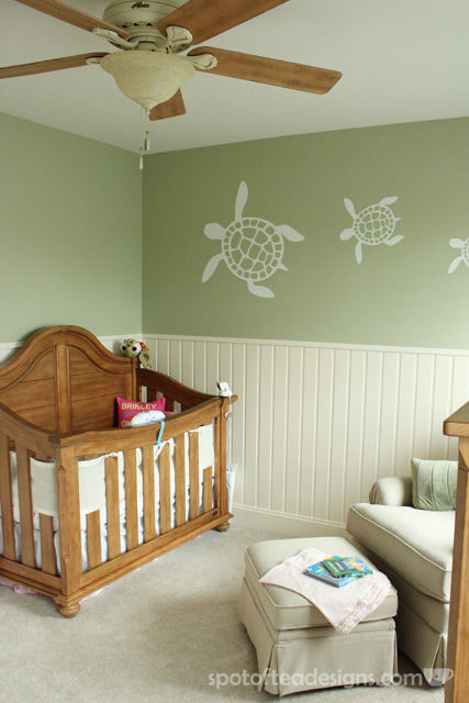 Gender Neutral Sea Turtle Baby Nursery Reveal Greens Creams And Light Browns Spotofteadesigns