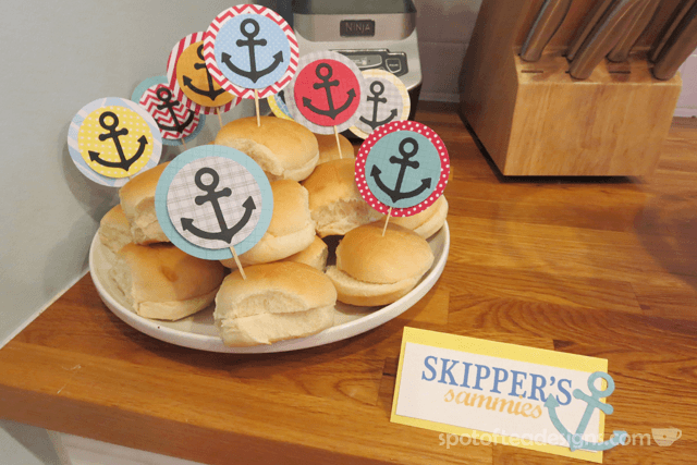 Nautical Baby Shower: Skipper's sandwiches| spotofteadesigns.com