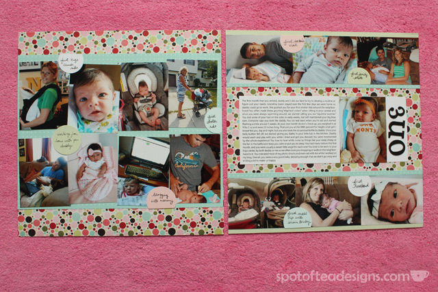 Baby Scrapbook: Create 1 two page spread with favorite photos of the month and journaling of milestones/highlights. Month 1 | spotofteadesigns.com