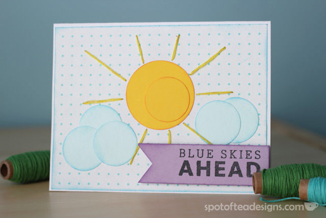 """Blue Skies Ahead"" Handmade card using circle punches 