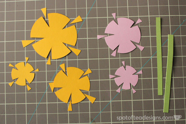 """Thank you very much"" handmade card using circle punches cut into floral shapes 