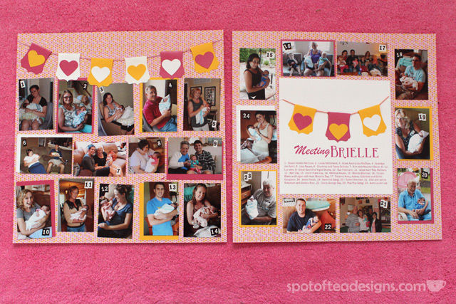 #Baby #Scrapbook 2 page layout with photos of everyone meeting the baby | spotofteadesigns.com
