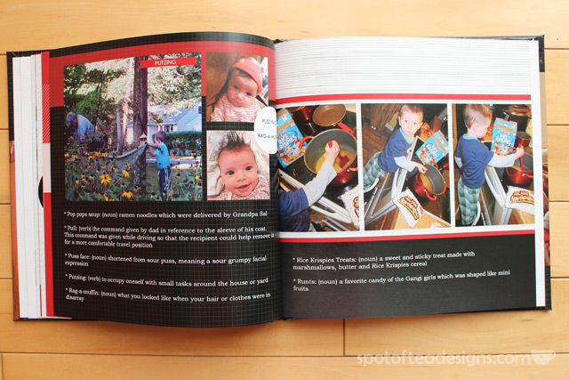 Family Dictionary Photobook: add definions to common words and phrases of your family along with pictures. Great Mother's day gift idea! | spotofteadesigns.com