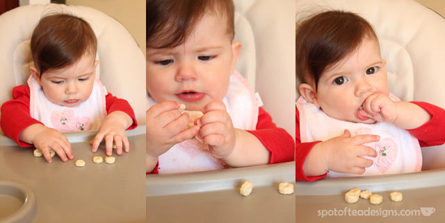 Brielle eating Happy Baby Puffs | spotofteadesigns.com