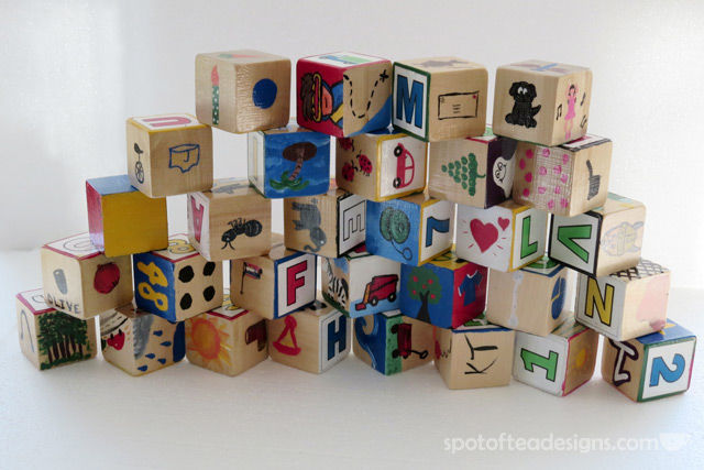 Baby Shower activity: Paint your own alphabet block | spotofteadesigns.com