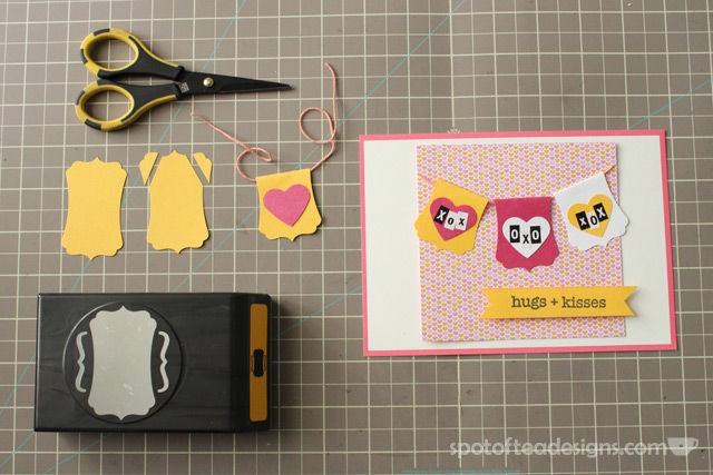 Use a label punch to create a fancy handmade mini garland on a card | spotofteadesigns.com