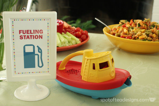 Transportation Themed Baby Shower: Fueling Station aka food table | spotofteadesigns.com