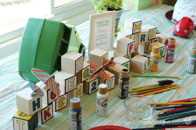 Transportation Baby Shower: Painting Alphabet Blocks Activity | spotofteadesigns.com