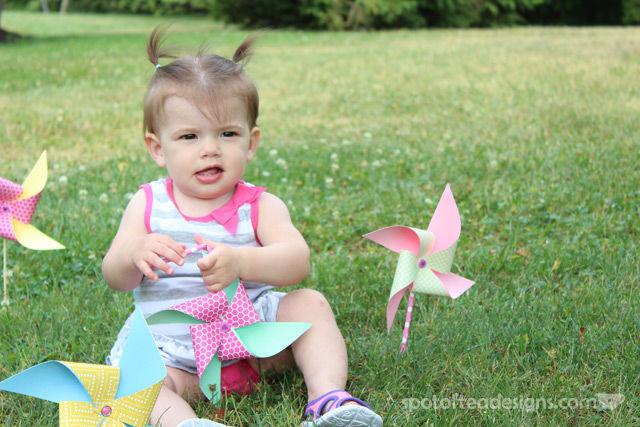First Birthday Party Invitation Photoshoot: pinwheels | spotofteadesigns.com