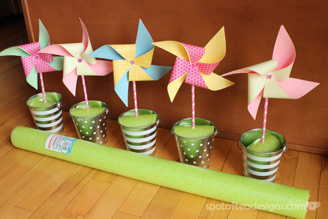Centerpiece Pool Noodle Hack: Cut up a pool noodle instead of buying expensive floral foam | spotofteadesigns.com