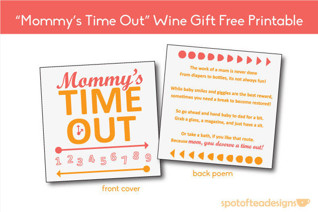 """Mommy's Time Out"" Wine Gift FREE #Printable 
