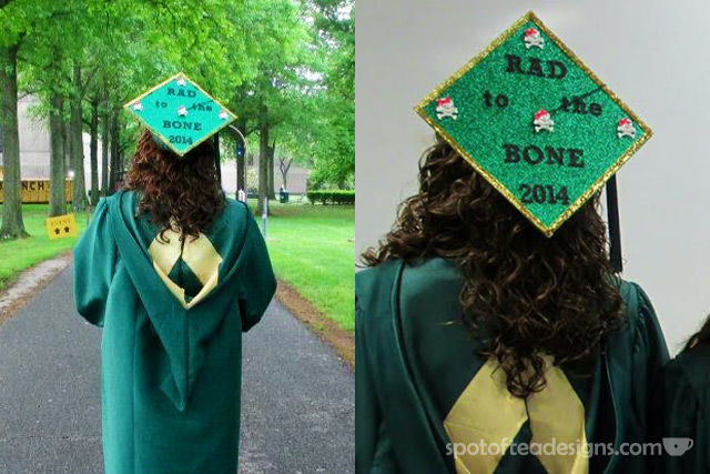 """Rad to the Bone"" Decorated Graduation Cap (for someone with a degree in Radiography) 