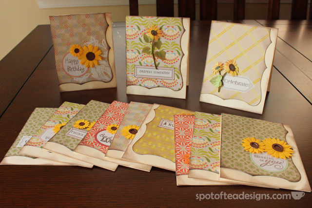 #Gift Idea: Handmade Greeting Cards. See one coordinated set feauring sunflower stickers | spotofteadesigns.com