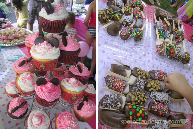 Minnie Mouse First Birthday Party: Cupcakes and chocolate and candy covered bananas | spotofteadesigns.com