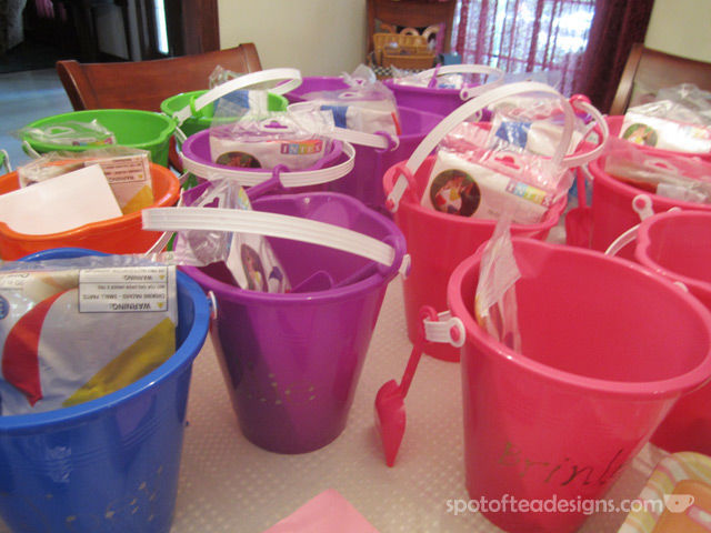 Summer Birthday Party Favors: Use a sandbox as the container | spotofteadesigns.com