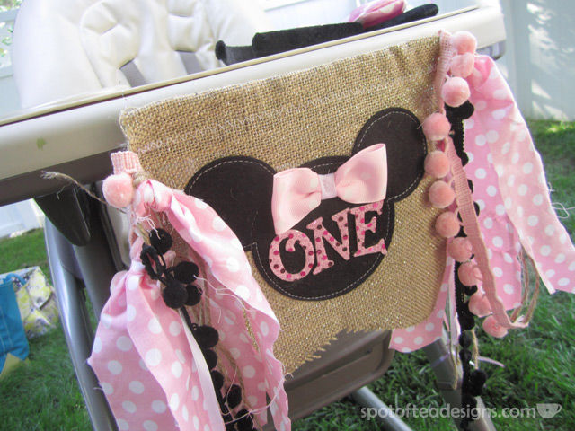 """Minnie Mouse First Birthday Party: """"One"""" High Chair Banner 