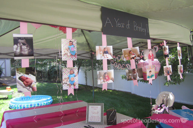Minnie Mouse First Birthday Party: Display monthly photos on ribbons | spotofteadesigns.com