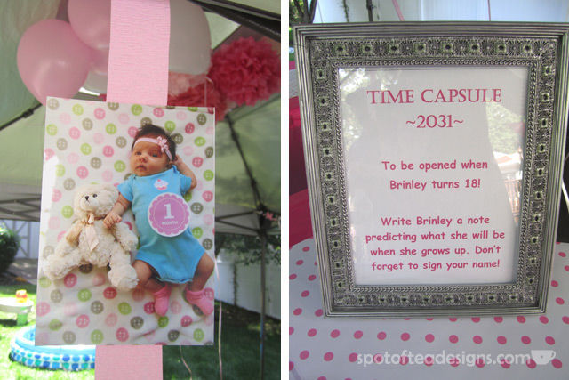 Minnie Mouse First Birthday Party: Time capsule guest activity | spotofteadesigns.com