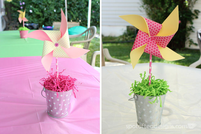 Pinwheel first birthday party: DIY Pinwheel centerpieces with pool noodle foam as center #birthdayparty | spotofteadesigns.com