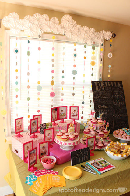 Pinwheel first birthday party: Dessert Table #birthdayparty | spotofteadesigns.com